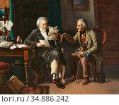 Vautier Marc Louis Benjamin - Beim Notar - Swiss School - 19th Century... Редакционное фото, фотограф Artepics / age Fotostock / Фотобанк Лори