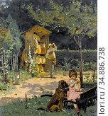 Durand Simon - Garten Mit Imker Und Spielendem Mädchen - Swiss School... Редакционное фото, фотограф Artepics / age Fotostock / Фотобанк Лори