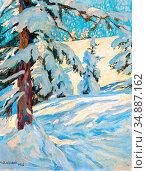 Wieland Hans Beat - Frischer Schnee Arosa - Swiss School - 19th Century... Редакционное фото, фотограф Artepics / age Fotostock / Фотобанк Лори