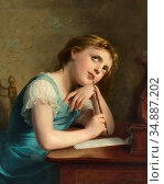 Zuber-Buhler Fritz - Writing a Letter (Distant Thoughts) - Swiss ... Редакционное фото, фотограф Artepics / age Fotostock / Фотобанк Лори