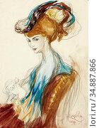 Kupka Frantisek - Femme Au Chapeau - Czech Republic and Slovakia ... Редакционное фото, фотограф Artepics / age Fotostock / Фотобанк Лори
