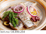 Herring fillets served with olives onions and dill. Стоковое фото, фотограф Olena Mykhaylova / easy Fotostock / Фотобанк Лори