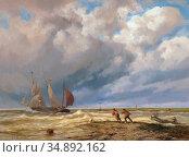 Koekkoek Johannes Hermanus Barend - Twee Mannen Die Een Roeiboot ... Редакционное фото, фотограф Artepics / age Fotostock / Фотобанк Лори