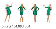 Blond hair girl in sparkling green dress isolated on white. Стоковое фото, фотограф Elnur / Фотобанк Лори