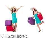 Woman traveller with suitcase isolated on white. Стоковое фото, фотограф Elnur / Фотобанк Лори