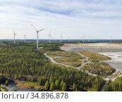 Wind farm at Zinkgruvan's storage site for mining waste. Zinc mine... Стоковое фото, фотограф Andre Maslennikov / age Fotostock / Фотобанк Лори