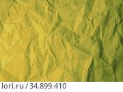 Crumpled yellow paper. Стоковое фото, фотограф Юрий Бизгаймер / Фотобанк Лори