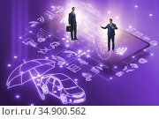 Concept of buying insurance online over internet. Стоковое фото, фотограф Elnur / Фотобанк Лори