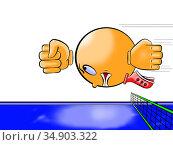 Теннисный шарик в полёте. Стоковая иллюстрация, иллюстратор Александр Княжецкий / Фотобанк Лори