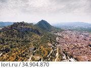 Aerial photography Xativa townscape. Spain. Стоковое фото, фотограф Alexander Tihonovs / Фотобанк Лори