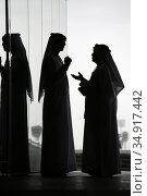 Dubai, United Arab Emirates, silhouette, men in national costume talking (2019 год). Редакционное фото, агентство Caro Photoagency / Фотобанк Лори