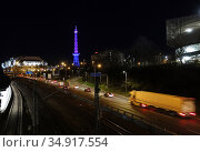 Berlin, Germany, View of the ICC and the Funkturm at night (2019 год). Редакционное фото, агентство Caro Photoagency / Фотобанк Лори