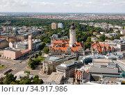 City panorama, city hall, Leipzig, Saxony, Germany. Редакционное фото, агентство Caro Photoagency / Фотобанк Лори