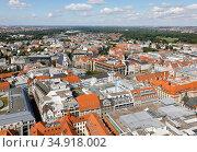 City panorama, old town, market place, Leipzig, Saxony, Germany. Редакционное фото, агентство Caro Photoagency / Фотобанк Лори