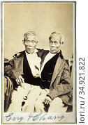 Chang and Eng Bunker (May 11, 1811 – January 17, 1874) were Thai-... (2015 год). Редакционное фото, фотограф Pictures From History / age Fotostock / Фотобанк Лори