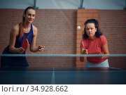 Women play doubles table tennis, ping pong players. Стоковое фото, фотограф Tryapitsyn Sergiy / Фотобанк Лори