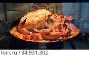 Курица с яблоками на чугунной сковороде запекается в электрической духовке. Chicken with apples in a cast-iron pan is baked in an electric oven. Стоковое видео, видеограф Владимир Литвинов / Фотобанк Лори