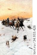 Kleczynski Bodhan Von - Figures in a Horse Drawn Sleigh - Polish ... Редакционное фото, фотограф Artepics / age Fotostock / Фотобанк Лори