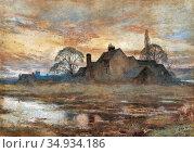 Beck Julia - Franskt Landskap Med Gård - Swedish School - 19th Century... Редакционное фото, фотограф Artepics / age Fotostock / Фотобанк Лори