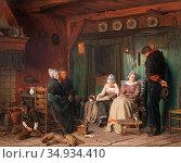 Fagerlin Ferdinand - Huslig Andakt - Swedish School - 19th Century. Редакционное фото, фотограф Artepics / age Fotostock / Фотобанк Лори