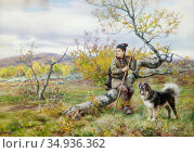 Tirén Johan - Same Med Hund 2 - Swedish School - 19th Century. Редакционное фото, фотограф Artepics / age Fotostock / Фотобанк Лори
