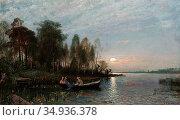 Torna Oscar - Boating at Dusk - Swedish School - 19th Century. Редакционное фото, фотограф Artepics / age Fotostock / Фотобанк Лори