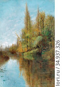 Beck Julia - River Landscape Grez-Sur-Loing - Swedish School - 19th... Редакционное фото, фотограф Artepics / age Fotostock / Фотобанк Лори