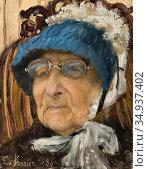 Bonnier Eva - Old Grandmother (Hanna Markus) - Swedish School - 19th... Редакционное фото, фотограф Artepics / age Fotostock / Фотобанк Лори