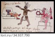Month Teotleco in Aztec calendar. Codex Tudela, 16th-century pictorial... Стоковое фото, фотограф Juan García Aunión / age Fotostock / Фотобанк Лори