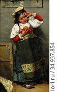 Feron William - Liten Flicka I Ateljén - Swedish School - 19th Century... Редакционное фото, фотограф Artepics / age Fotostock / Фотобанк Лори