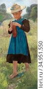 Buchtger Robert - Absorbed in Needlework - Russian School - 19th ... Стоковое фото, фотограф Artepics / age Fotostock / Фотобанк Лори