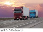 Trucks goes on the highway. Стоковое фото, фотограф Юрий Бизгаймер / Фотобанк Лори