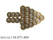 Стрелка из десятирублевых юбилейных монет. Стоковое фото, фотограф Антонина / Фотобанк Лори