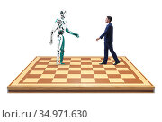 Concept of rivalry between robots and humans. Стоковое фото, фотограф Elnur / Фотобанк Лори