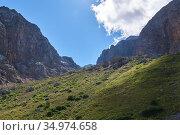 Alpine glacial valley with steep slopes, grassy bottom and cloud shadow. Стоковое фото, фотограф Евгений Харитонов / Фотобанк Лори