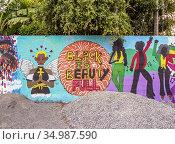 Barry Street Graffiti, Downtown, Kingston, Kingston Parish, Jamaica. Редакционное фото, фотограф Karol Kozlowski / age Fotostock / Фотобанк Лори