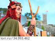 Arrival party or Festa da Arribada. Fauns or Pan. Baiona, Pontevedra... Редакционное фото, фотограф Pablo Méndez / age Fotostock / Фотобанк Лори