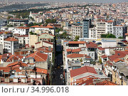 Skyline of Istanbul, as seen from Galata Turm. View of the Buyuk Hendek street in the Beyoglu District (2020). City of Istanbul, Turkey. Редакционное фото, фотограф Bala-Kate / Фотобанк Лори
