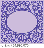 Flower frame in linear sketch style for florist shops, organic cosmetics, wedding. Emblem design template with copy space for text, flowers background in pink colours. Vector. Стоковая иллюстрация, иллюстратор Dmitry Domashenko / Фотобанк Лори
