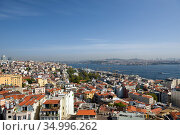 Skyline of Istanbul, as seen from Galata Turm. View of the Bosphorus Strait and Beyoglu district. City of Istanbul, Turkey. (2020 год). Стоковое фото, фотограф Bala-Kate / Фотобанк Лори