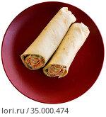 French cuisine, wrap tuna with crudite vegetables and greens. Стоковое фото, фотограф Яков Филимонов / Фотобанк Лори