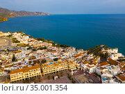 View from drone of coastal Mediterranean town of Nerja, Spain. Стоковое фото, фотограф Яков Филимонов / Фотобанк Лори