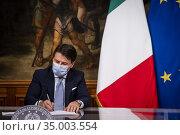 Italian Prime Minister Giuseppe Conte during the press conference... Редакционное фото, фотограф Alessandro Serrano' / AGF/Alessandro Serrano' / / age Fotostock / Фотобанк Лори