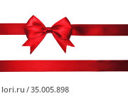 Red satin bow isolated on white background. Стоковое фото, фотограф Евдокимов Максим / Фотобанк Лори