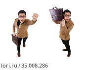 Young man with brown briefcase isolated on white. Стоковое фото, фотограф Elnur / Фотобанк Лори