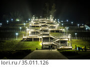 Stairs to Upland Park in the late evening. Barnaul, Russia. Стоковое фото, фотограф Наталья Волкова / Фотобанк Лори