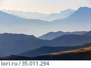 Landscape view of Caucasus mountains, Caucasus, Russia. Стоковое фото, фотограф Дмитрий Кутлаев / Фотобанк Лори