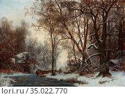 Torna Oscar - Winter Landscape - Swedish School - 19th Century. Редакционное фото, фотограф Artepics / age Fotostock / Фотобанк Лори
