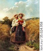 Wallander Josef Wilhelm - Ja Eller Nej - Swedish School - 19th Century... Редакционное фото, фотограф Artepics / age Fotostock / Фотобанк Лори