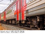 Russia, Samara, September 2019: electric train cars racing along the railway. Редакционное фото, фотограф Акиньшин Владимир / Фотобанк Лори